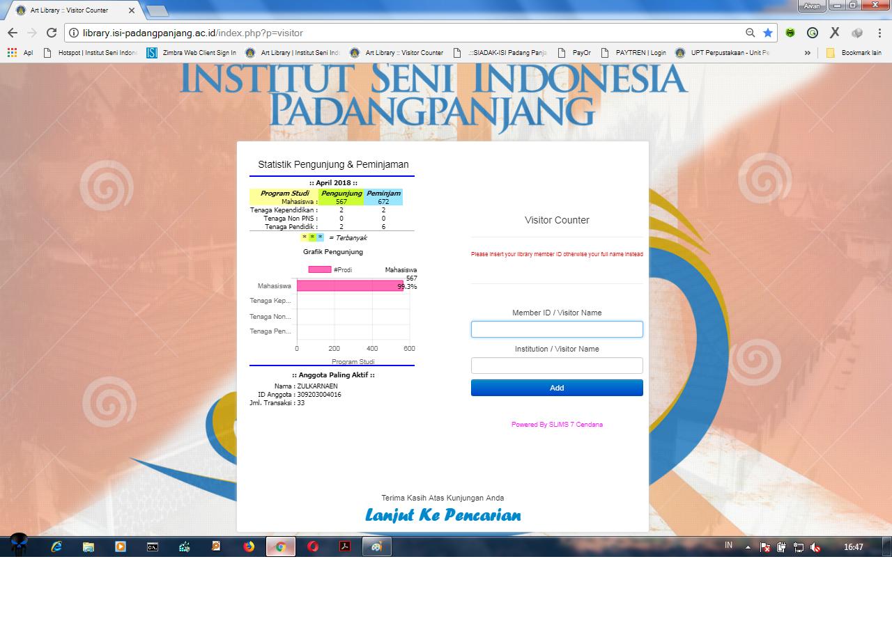 Laporan Pelayanan Sirkulasi Perpustakaan ISI Padang Panjang di Bulan April 2018