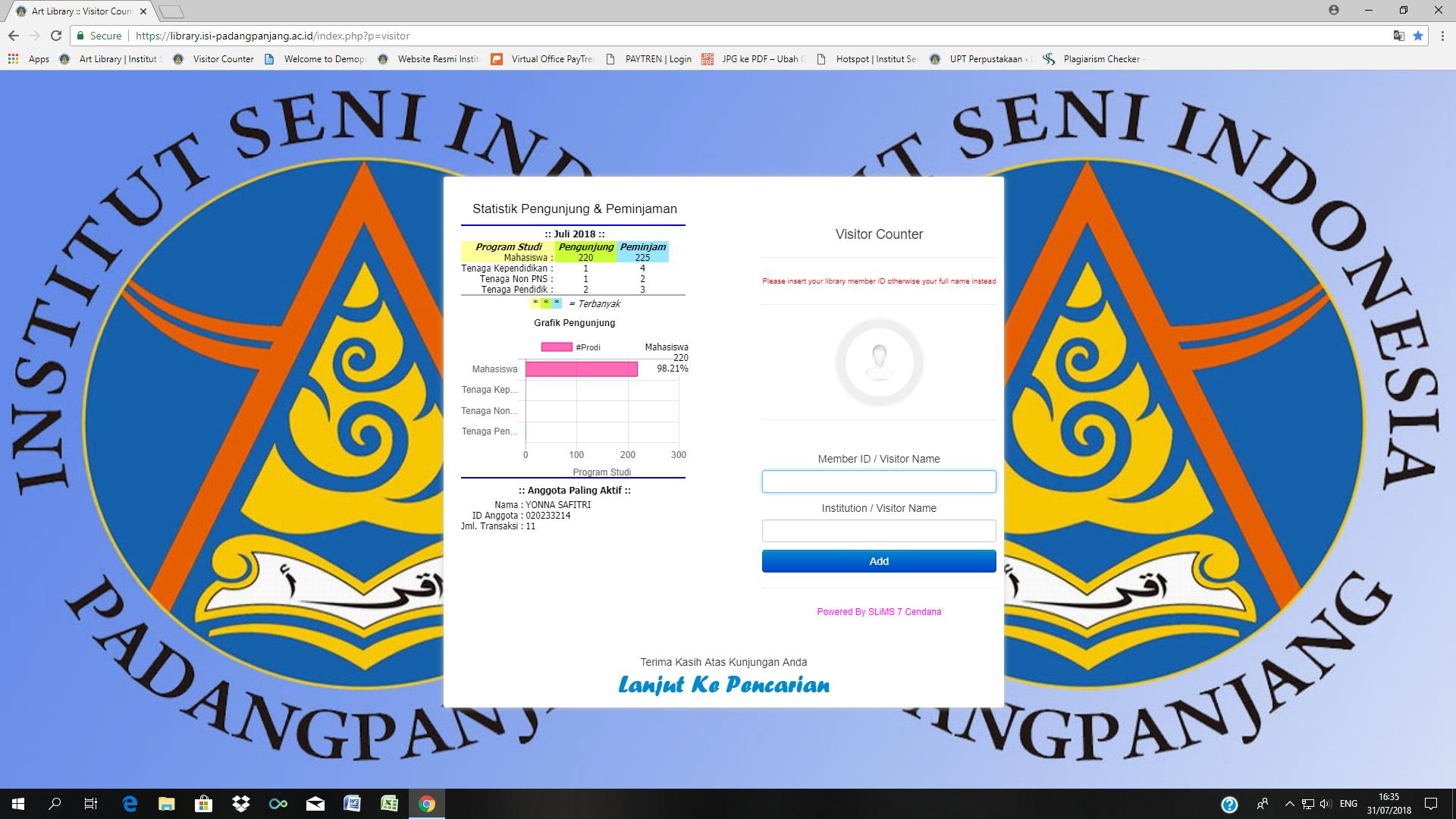 Laporan Pelayanan Sirkulasi Perpustakaan ISI Padang Panjang di Bulan Juli2018